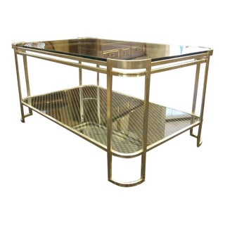 Two Italian Silver Leaf Double Level Cocktail Tables