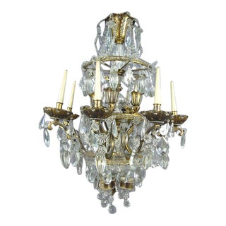 French Crystal and Gilt Bronze Chandelier by Maison Baguès for Jansen