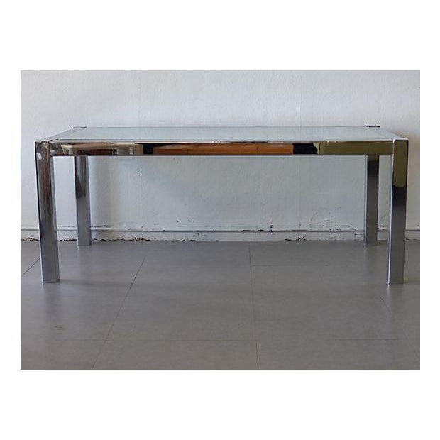 Mid Century Modern Dining Table With Glass Top Chairish
