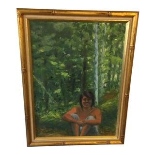 Vintage Landscape Portrait Painting