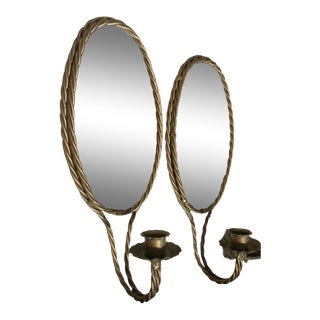 Oval Mirror Twisted Metal Rope Sconces