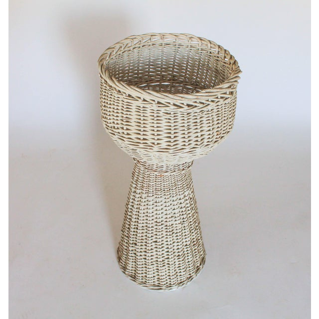White Wicker Plant Stand - Image 5 of 6