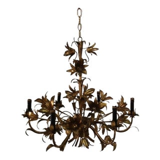 Mid-Century Gold Leaf Chandelier