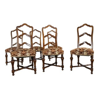 French Louis XIV Style Walnut Ladderback Dining Chairs - Set of 6
