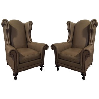 Leather Upholstered Wingback Chairs - A Pair