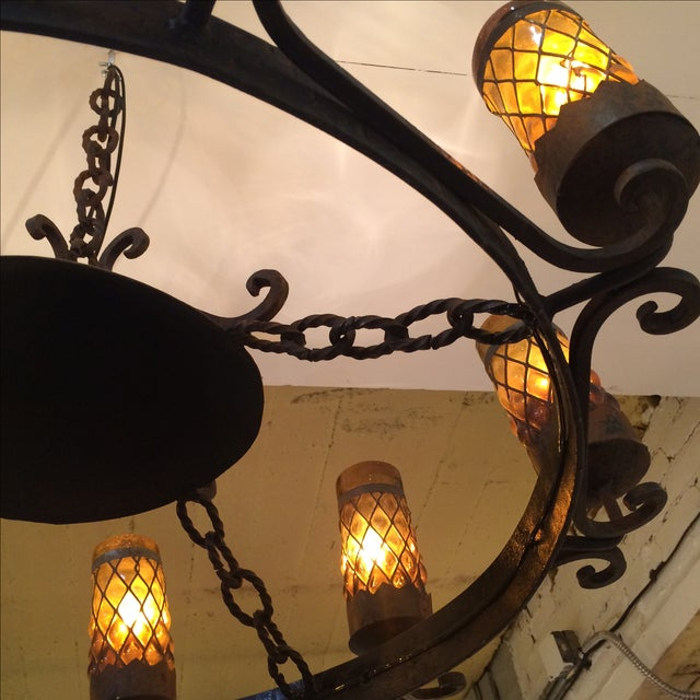 Spanish Revival Wrought Iron Chandelier - Image 3 of 7