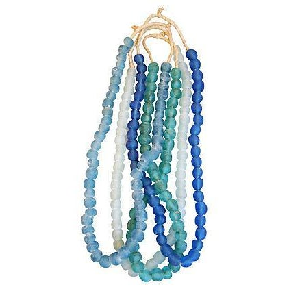 Image of Blue & Turquoise Sea Glass Bead Strands - Set of 4