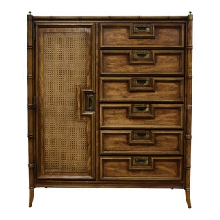 Faux Bamboo Hollywood Regency Dresser Armoire