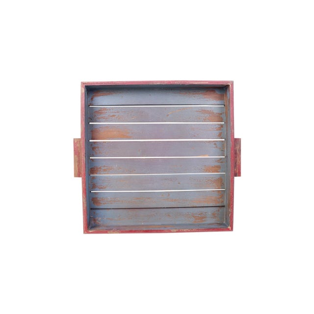 Image of Antique Red & Blue Rustic Wooden Square Tray