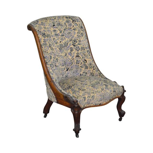 Antique Victorian Walnut Frame Slipper Chair - Image 11 of 11