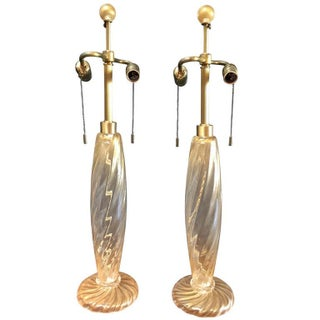 Gold Murano Table Lamps - A Pair