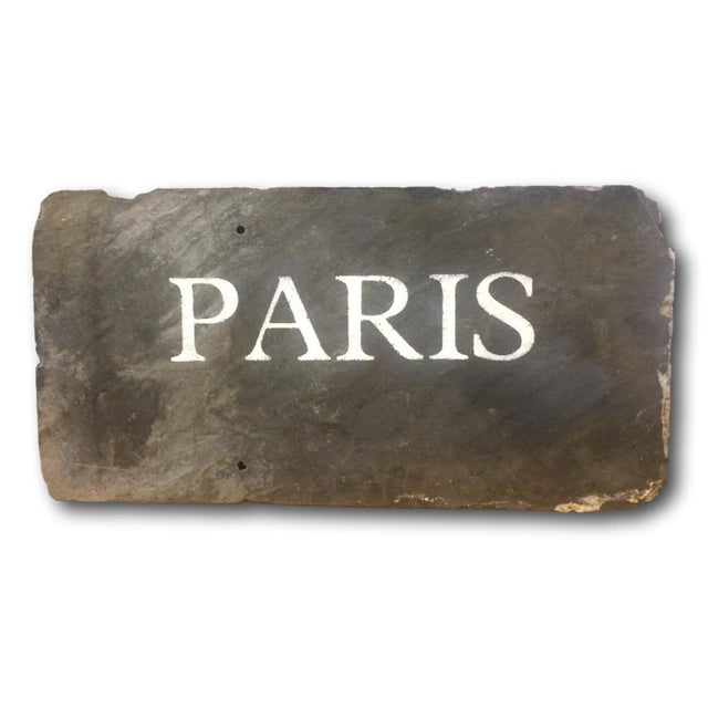 "Antique Slate Tile ""Paris"" Sign - Image 1 of 4"