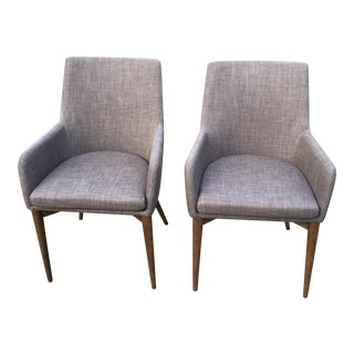 Brown Grey Contemporary Armchairs - A Pair