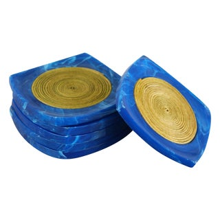 Vintage Cobalt Blue Coasters - Set of 6
