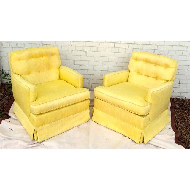 1960s Yellow Swivel Club Chairs - Image 3 of 10