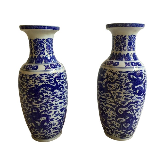Chinese Blue & White Vases - Pair - Image 1 of 5