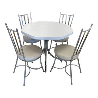 Chrome Faux Bamboo Breakfast Dining Set