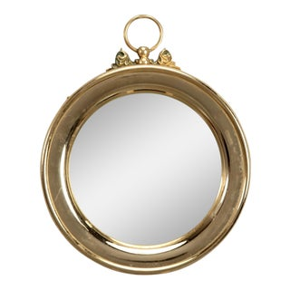 Small French Polished Brass Stop Watch Shape Wall Mirror