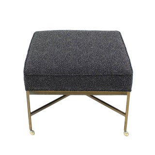 Newly Upholstered Solid Brass X Based Ottoman