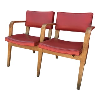 Mid-Century Modern Red Vinyl Double Seat Accent Bench
