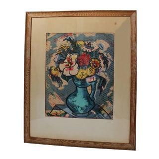"""Lena Gurr """"Flowers in Vase"""" Silk Screen"""