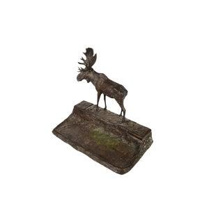 Bronze Moose Sculpture Inkwell