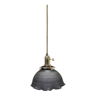 "Holophane 6"" Glass Shade Pendant Light"