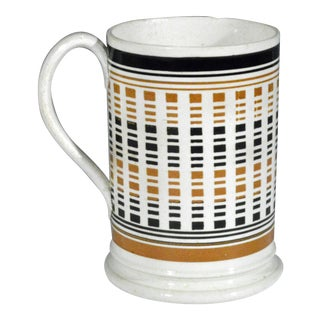 Antique English Mocha Pottery Pint Tankard