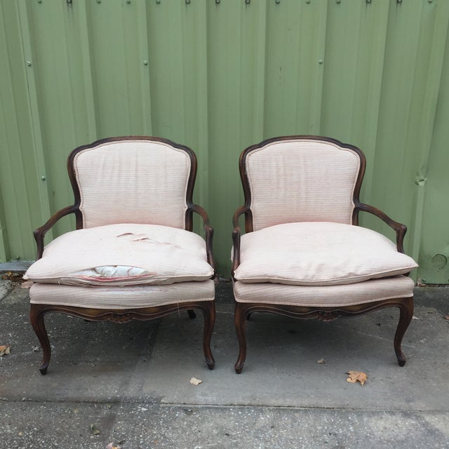 Louis XVI Fauteuil Bergere Chairs - a Pair - Image 2 of 11