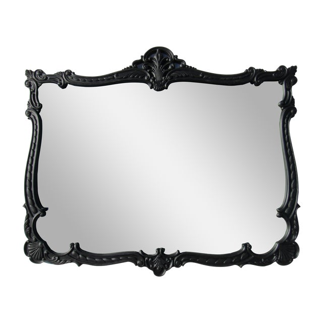 French Provincial Large Black Mirror - Image 1 of 8