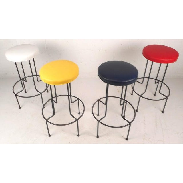 Set of Mid-Century Modern Wrought Iron Bar Stools by Frederick Weinburg - Image 3 of 8