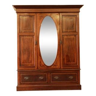 19th Century Inlaid Mahogany Mirrored Wardrobe