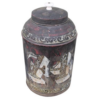 Monumental 19th Century Original Painted Tin Canister with Lid