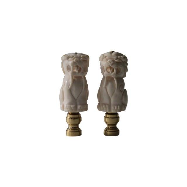 Image of Chinese Bone Foo Dog Lamp Finials - A Pair