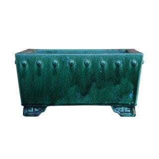 Chinese Ceramic Handmade Square Green Glaze Planter