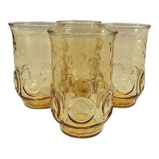 1960s Gold Thumbprint Glasses - Set of 4