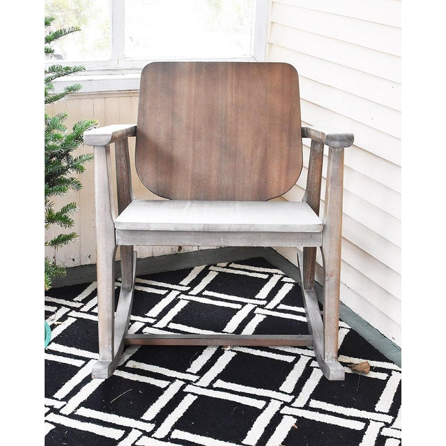 Modern Gray Wooden Rocking Chair - Image 6 of 10