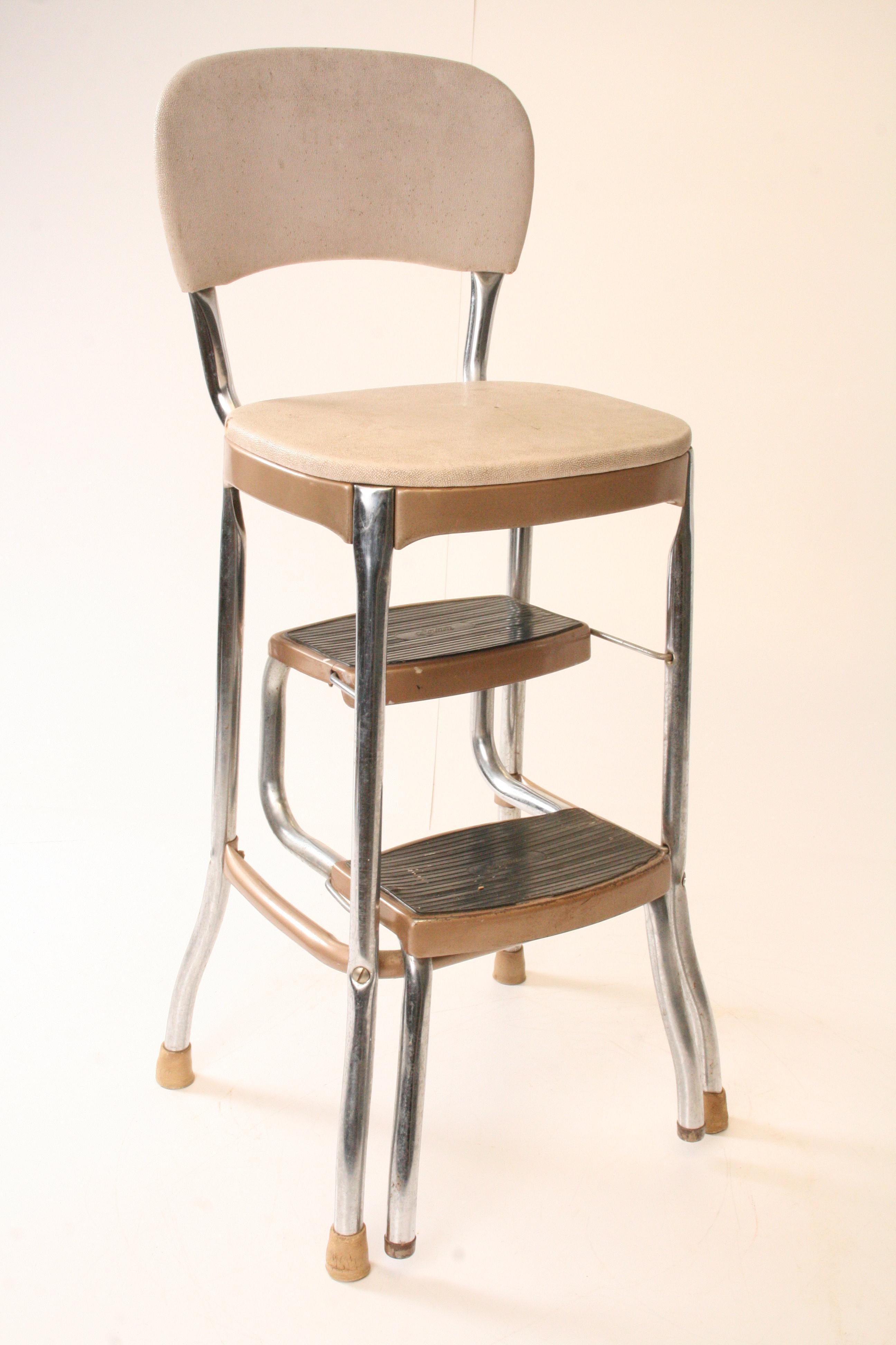 Mid Century Modern Beige Metal Kitchen Step Stool Chairish