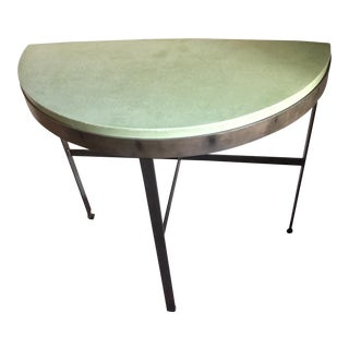 Iron Demilune Table With Stone Top