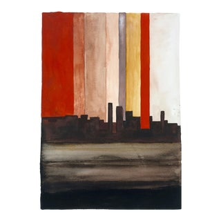"""Southwest Pueblo at Sunset"" Abstract Watercolor Painting"