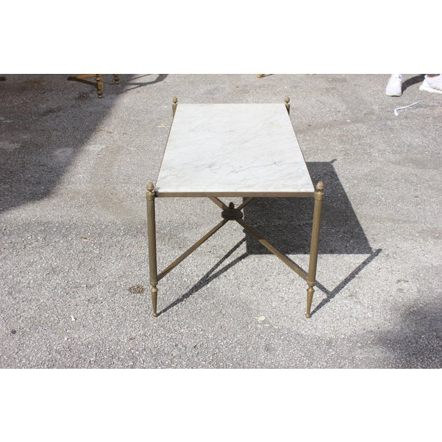 Long Maison Jansen Coffee Or Cocktail Table Bronze Rectangular With Marble Top Circa 1940s - Image 5 of 11