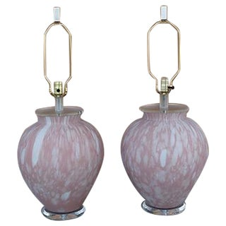 Murano Glass Table Lamps W/ Lucite Bases - a Pair