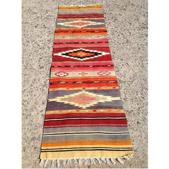 Vintage turkish handwoven runner kilim rug chairish for Decor international handwoven rugs