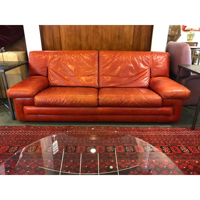 Roche Bobois Vintage Red Leather Sofa - Image 10 of 10