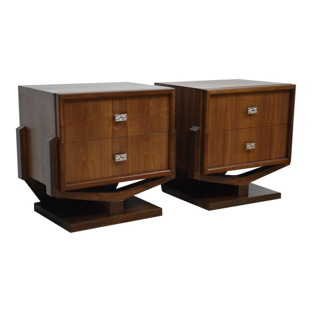 Mid-Century Brutalist Walnut Nightstands - A Pair - Image 1 of 11
