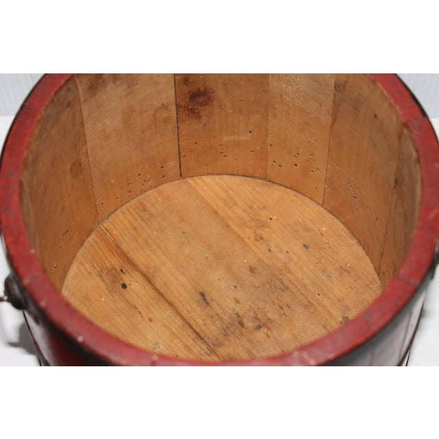Image of 19th Century Original Brick Red Shaker Style Bucket with Handle