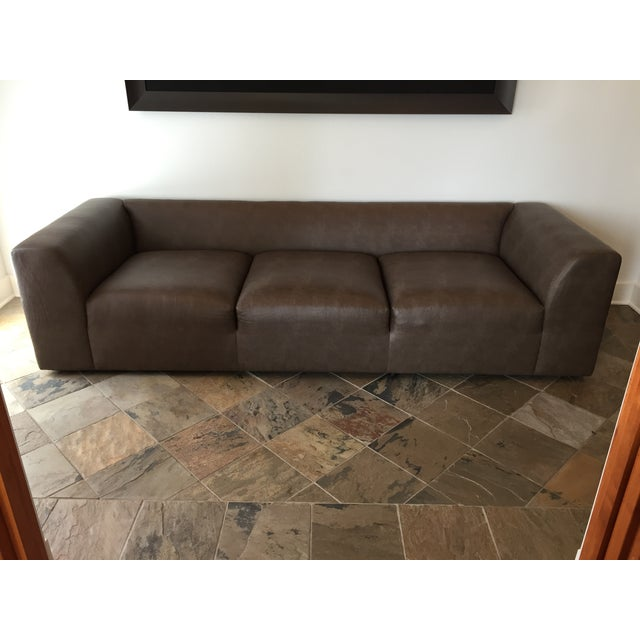 Mourra Starr Sofa, Brown Faux Leather - Image 2 of 7