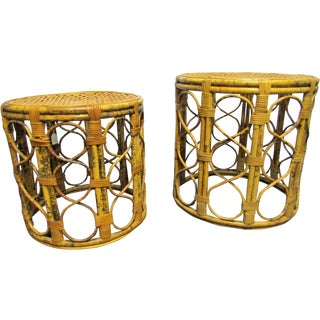 Vintage Stacking Burnt Rattan & Cane Tables - Pair