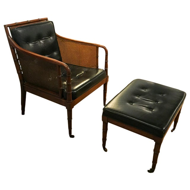 Mid Century Leather Faux Bamboo Chair & Ottoman - Image 1 of 10