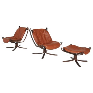 Sigurd Ressell for Vatne Møbler Falcon Chairs & Ottoman - 3 Piece Set